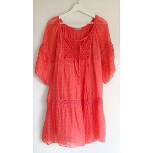 BELLAMBRA Boho Coral Dotted Silk Lined Dress